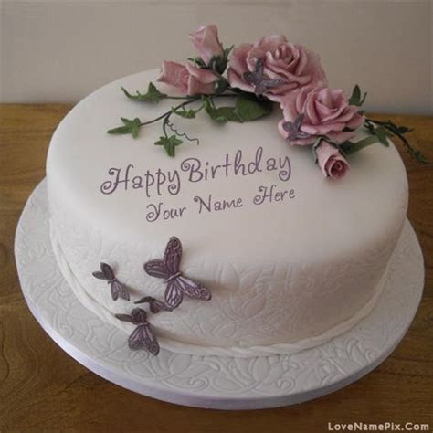 Butterfly Roses Birthday Cake With Name Photo   Happy