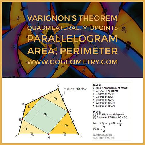 Geometry Problem 146: Varignon's Theorem: Quadrilateral, Midpoints, Parallelogram, Area, Perimeter, iPad Apps.