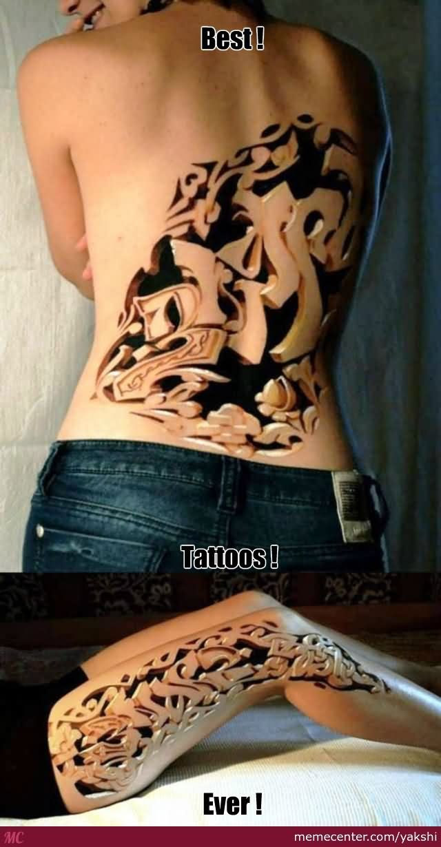 Girl Back Body And Leg Sleeve Mother Tattoo