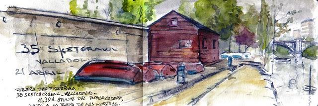 35 sketchcrawl in Valladolid. 11.30H. Orillas del  Pisuerga.
