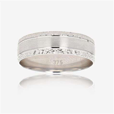 9ct White Gold Luxury Weight Mens Wedding Ring 6mm