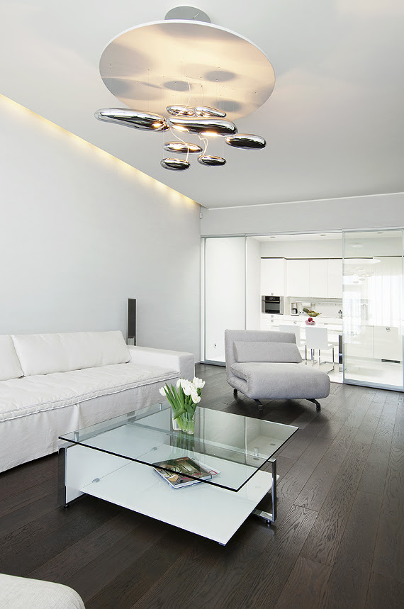Living with neutral soft furnishings modern lighting dark wood flooring and view to glass kitchen portrait 2