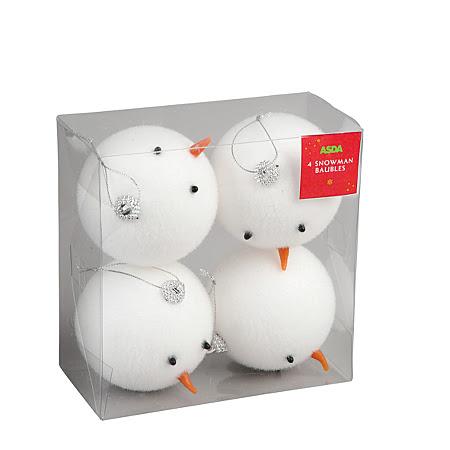 Snowman Head Baubles - 4 Pack
