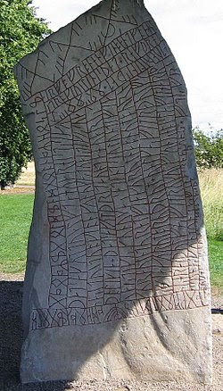 The Rök Runestone in Östergötland, Sweden, is the longest surviving source of early Old East Norse. It is inscribed on both sides.