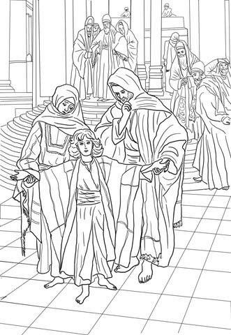 Dibujo De Jesús En El Templo A Los 12 Años Para Colorear Dibujos