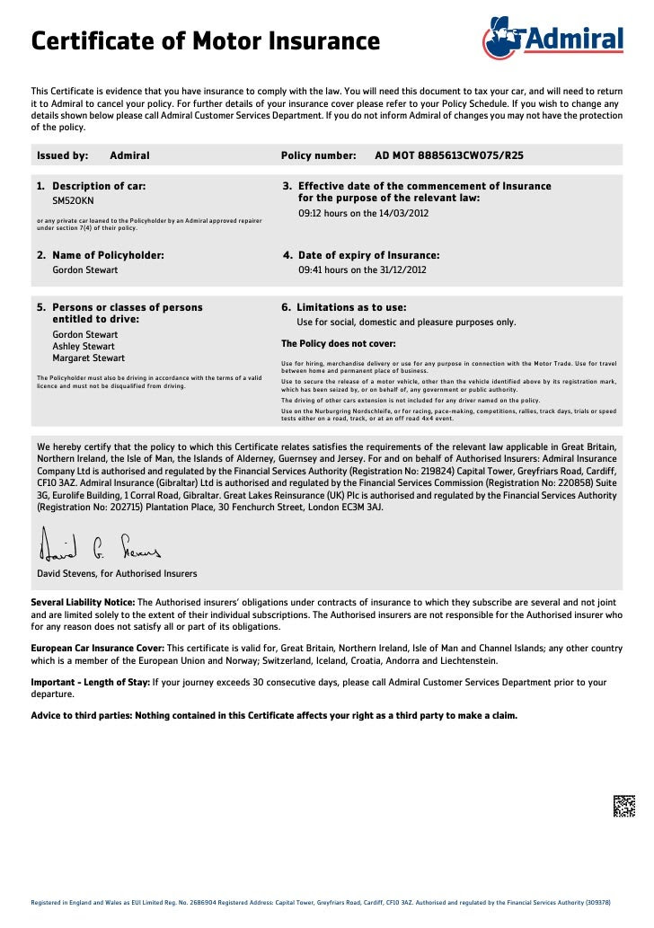 Motor Insurance: Motor Insurance Certificate