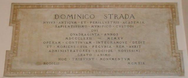 lapide a Domenico Strada, Virgilio Milani, Accademia dei Concordi, Rovigo