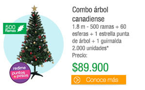 Combo árbolcanadiense - 1.8 m - 500 ramas + 60 esferas + 1 estrella punta de árbol + 1 guirnalda 2.000 unidades* - PRECIO: $89.900