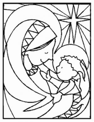 Dibujos Infantiles De La Virgen Maria Para Colorear