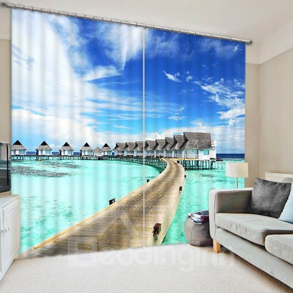 Village by the Sea in Sunny Day Print 3D Blackout Curtain