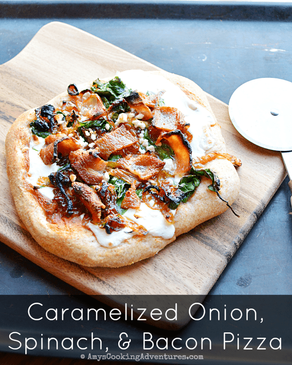 Caramelized Onion, Spinach, & Bacon Pizza 2