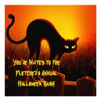 Scary Arched Black Cat Halloween Invitation