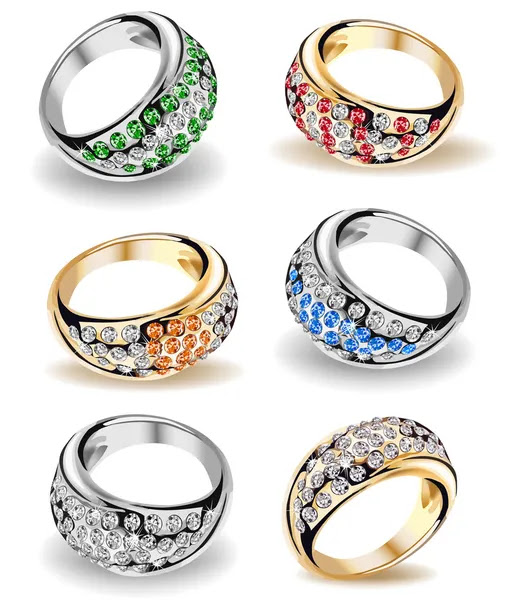 Set wedding rings and diamonds Vector by Stock Vector