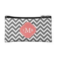 Gray and Coral Zigzags Monogram Makeup Bags