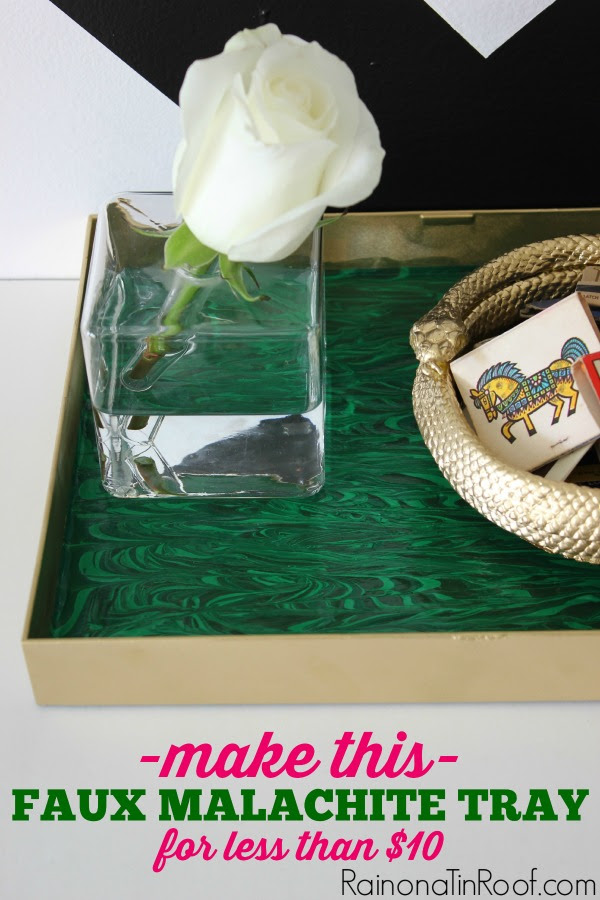 ANYONE can do this - its hard to mess up! And its cheap! DIY Faux Malachite Tray (For Less than $10) via RainonaTinRoof.com