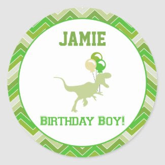 Dinosaur Birthday Cupcake Toppers/Stickers
