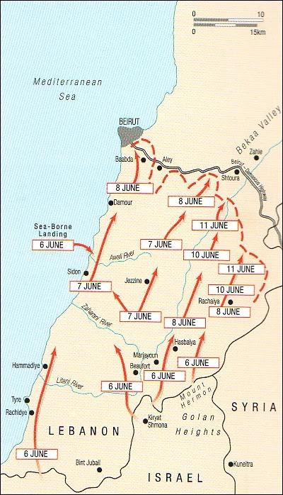 La mappa della guerra in Libano del 1982