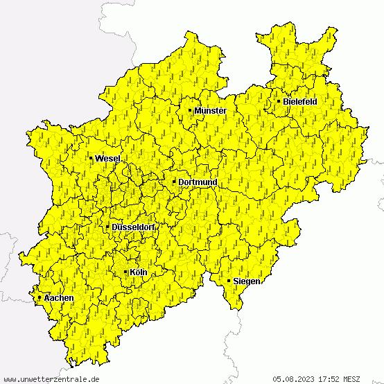 Aktuelle Unwetterwarnungen für NRW