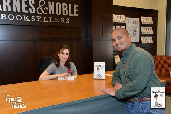 Posing with Lily Collins at The Grove's Barnes & Noble bookstore in Los Angeles...on March 11, 2017.
