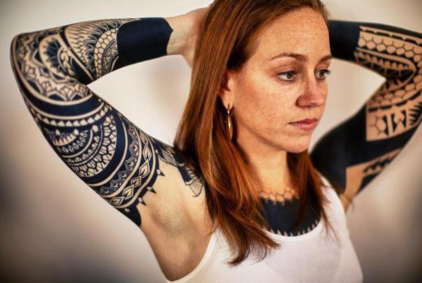Aztec Blackwork Tattoo Sleeves For Girl Best Tattoo Ideas Gallery