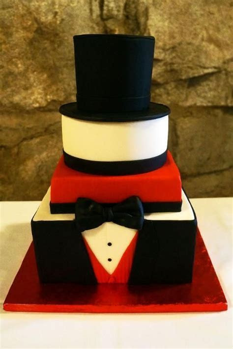 Grooms' black, white & red tux cake project on Craftsy.com