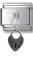 Heart Lock Sterling Silver Italian Charm