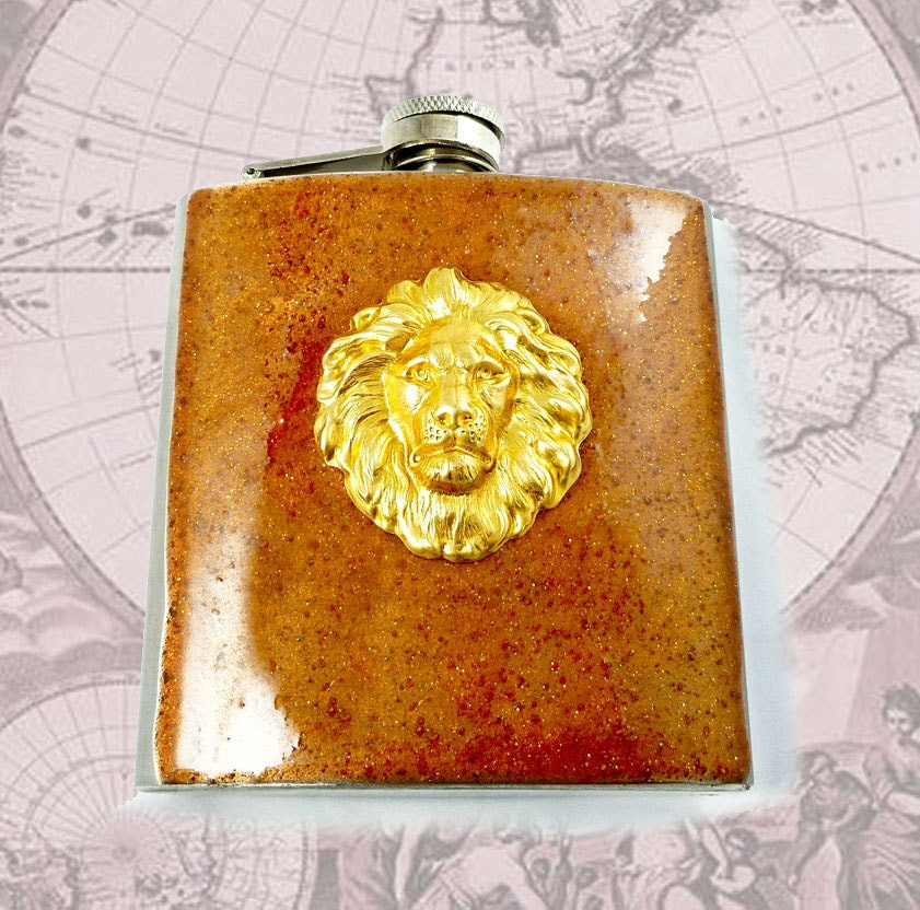 Safari Lions Head Flask Leo Zodiac Hip Flask Neo Victorian Copper Blast Resin Hand Painted Stainless Steel Mixed Metal Design