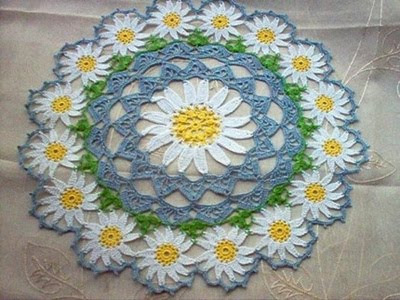 photo of a lace thread doily
