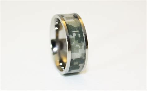 #1 Camo Military Titanium Ring   Army Camouflage Wedding Band