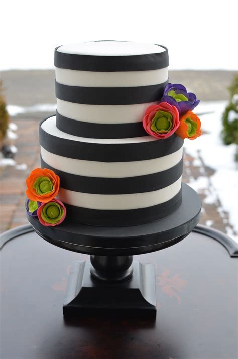 Black And White Striped Cake With Brightly Colored Sugar