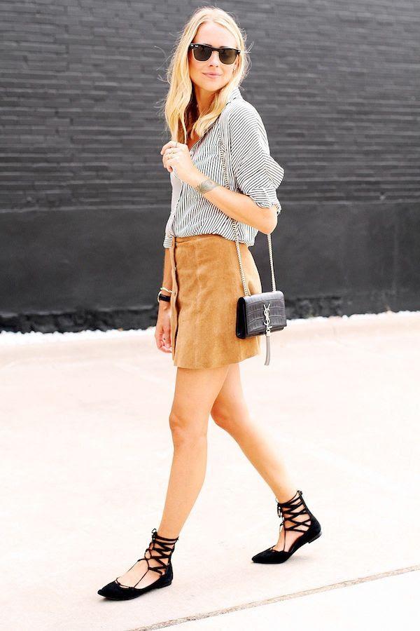 Le Fashion Blog Suede Button Front Skirt Ray Ban Sunglasses Striped Shirt Saint Laurent Croc Bag Black Lace Up Flats Blogger Fall Style Via Fashion Jackson