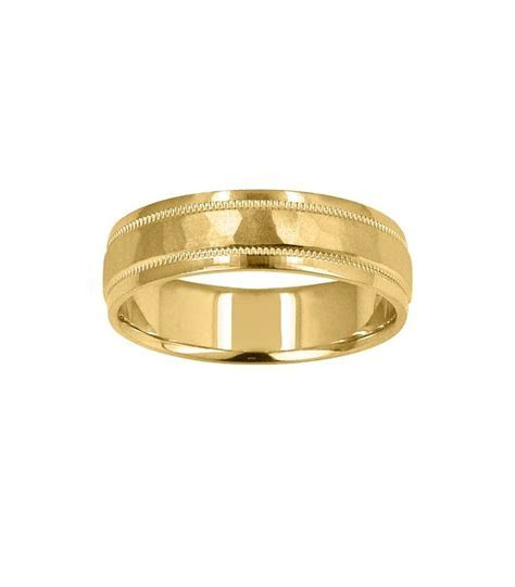 Mens 6mm Hammered Band 18Kt Yellow Gold   Amoro