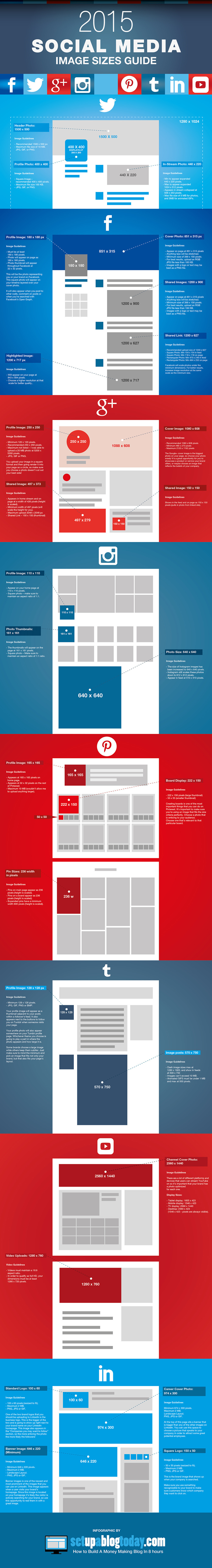 Have you optimized your social media profiles with the right image sizes? With the ever growing need to have a strong social media presence for your business, brand and personal profiles, it's so important to optimize them with the right images to represent you.  Therefore, the folks at setupablogtoday have put together a new infographic, which is an updated image dimensions reference-guide for all the major social media sites (Instagram, Pinterest, Tumblr, Twitter, LinkedIn, Facebook, GooglePlus, YouTube). Bookmark it and take notes.