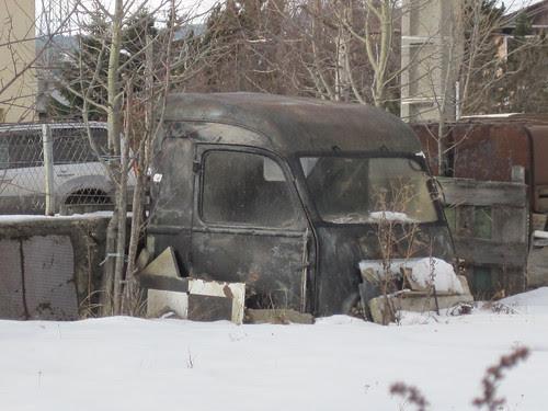Cabina d'una furgoneta Renault a La Perxa (Alta Cerdanya)