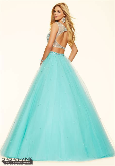 2 Piece Crystal Beaded Tulle Mori Lee Prom Dress   Style