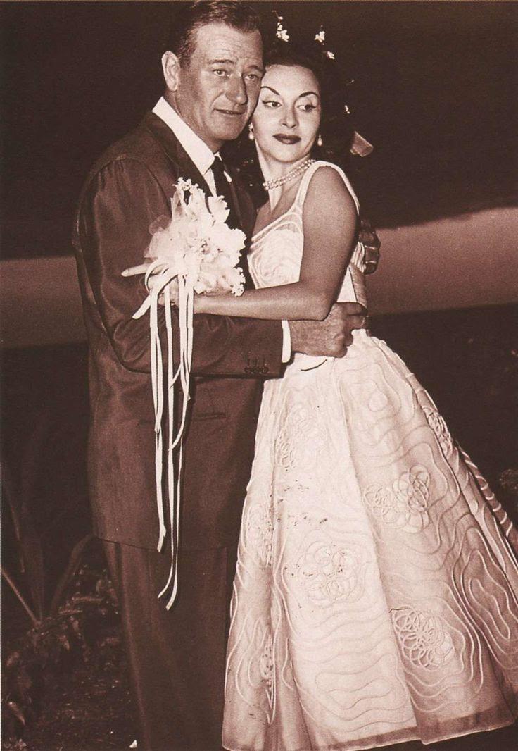 John Wayne  3rd wife Pilar Palette (married 1954-1979 till his death, 3 children)