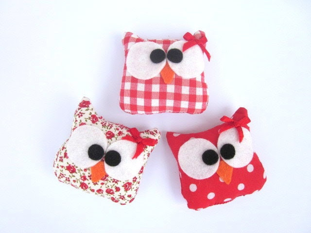 Plush Owl Ornament Set of 3, Mini Owls Plushes, Fabric Owls Plushes - ViajeraFelt