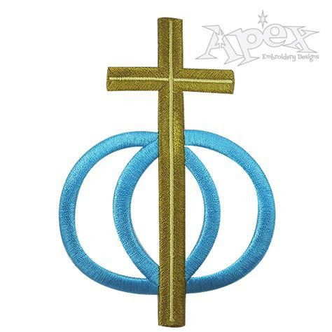 Cross Wedding Rings Embroidery Design   Apex Embroidery