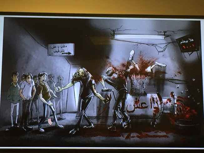 This cartoon depicts two extremist fighters at a