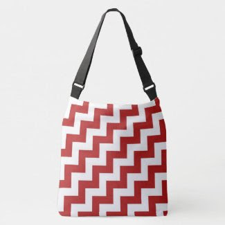All-Over-Print Red and White Diagonal Zigzags Tote Bag