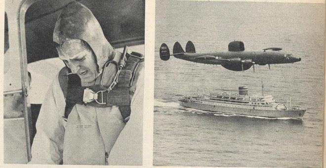 Gil Delamare se lanza en paracaídas para embarcar en el Santa María y realizar un reportaje fotográfico para 'Paris-Match'.