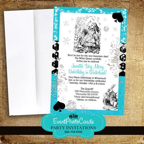 Alice in Wonderland Invitations Aqua Sixteen Birthday Party