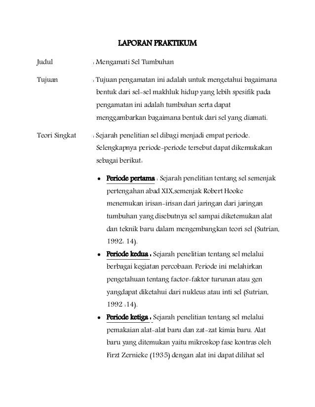 Contoh Laporan Praktikum Biologi Osmosis Pada Kentang Contoh Aneka