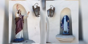 Police say the act of vandalism marks the second such incident at the church in a month. (Photo credit: CBS Local 2)
