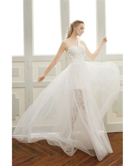 Goddess A line One shoulder Floor length Tulle Beach