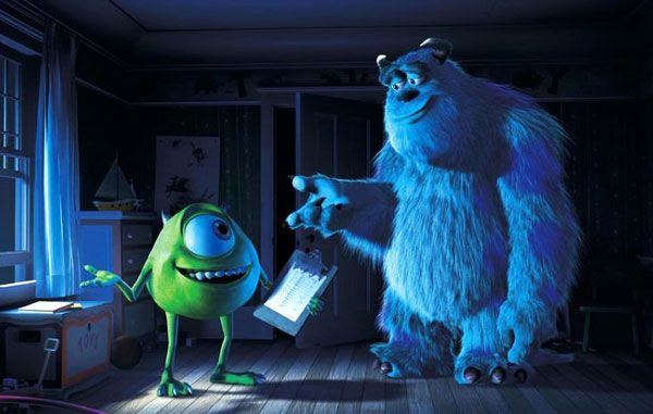 Mike Wazowski and James Sullivan go about their job of scaring little children in MONSTERS, INC.
