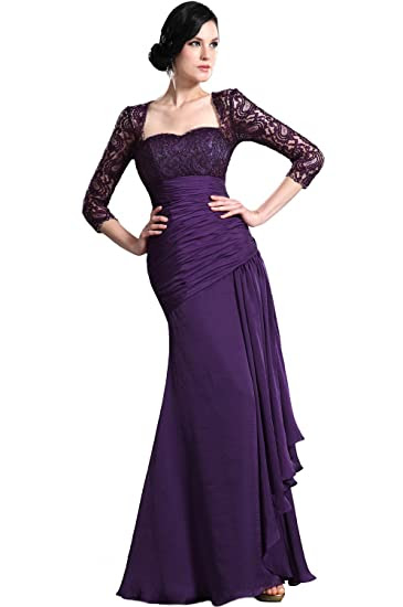 Lace evening dresses with sleeves uk