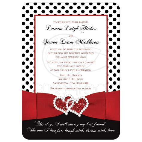 Wedding Invitation   Black, White Red   Polka Dots