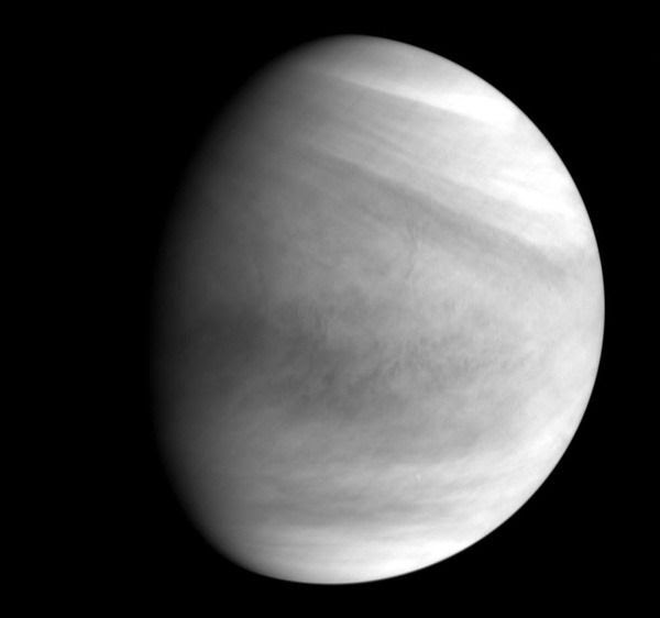 An image of Venus that was taken by Akatsuki using the spacecraft's ultraviolet camera on December 6, 2015 (Pacific Time)...from a distance of 73,000 km (45,000 miles).