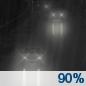 Sunday Night: Rain.  Low around 33. Chance of precipitation is 90%.